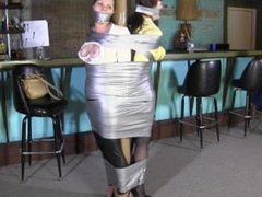 Two girl taped up and gagged by dom girl