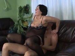 Horny Granny in stockings plays, toys, sucks and fucks