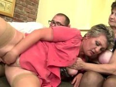 Mature mothers From SEXDATEMILF.COM sharing one lucky boy_s cock