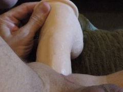 "9"" Dildo sliding in and out of my ass"