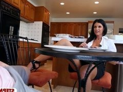 Teen and MILF threesome in the kitchen