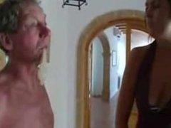 Mistress slapping her old slave