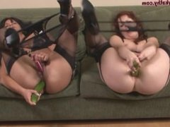 Milf lesbians From LOOK4MILF.COM jamming huge cucumbers up their anal holes