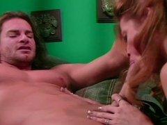 Wild brunette Jessica Drake deep throats throbbing stud
