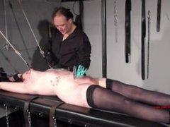 Tattooed amateur slaves extreme bdsm and punishment rack tit tortures