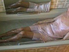 'fawn' coloured, satin slip bath.