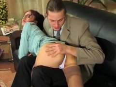 Judith Anal From Hotrussiababes.net on Couch with Business Suit and Lingeri