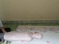 Indonesian girl In Tight Mummification at Her Room