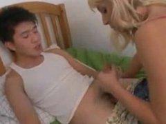 asian guy fucks blonde girl