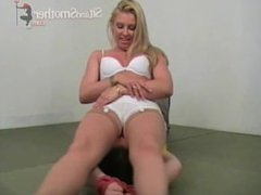 Tied up and facesat by blonde in white lingerie