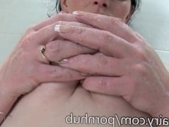 Andrea Foster is hairy and in the tub for a scrub