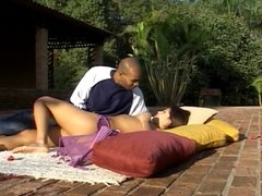 Latin hottie banged by black cock outdoors
