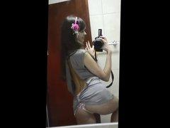 selfshot mirror sexy girl shoving ass