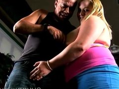 Big busty blonde BBW gives an amazing sloppy blowjob