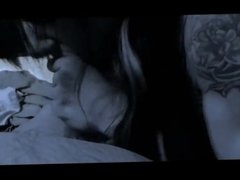 tatto girl blows a small cock