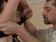 Big tit brunette rides and sucks