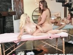 Lesbian Mommy and Daughter Massage Foursome