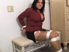 The snooping cougar tied up and wrap gagged with panties stuffed in!