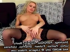 Sexy milf in lingerie masturbating on a couch