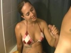 Bikini handjob and cumblast