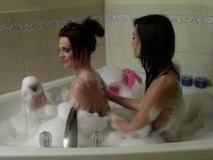Skinny College Lesbians Bubble Bath Make out