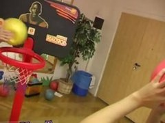 Teen girlfriend pov blowjob Cindy and Amber smashing each other in the gym