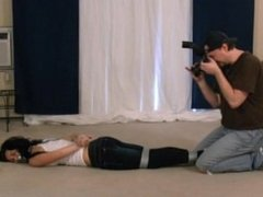 Stephanie Taped up in jeans, blindfolded & tape gagged - bondage