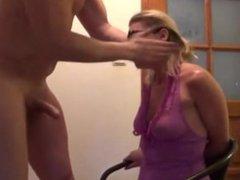blonde cougar milf takes throat fucking from SelfiesMilfs.com