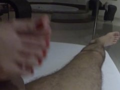 Footjob Red Toenails-Cock Explodes Cum!