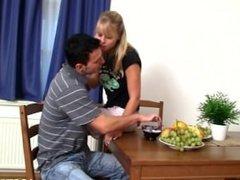 Couple's raunchy kitchen sex