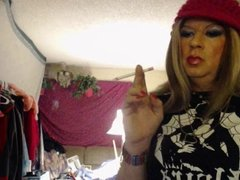 smoking tgirl pink hat lipstick stains