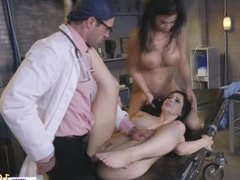 Dr Spank fucks two hungry pussies during his