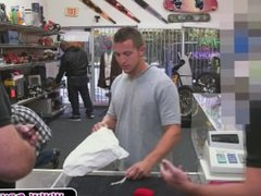 Hot guy strips in pawn shop and sucks cock