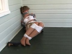Fayth tied up and gagged on her patio!