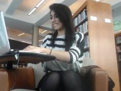 Hot webcam girl flashing and playing in library