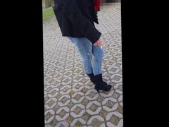 Woman is high boots