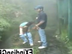 Indian girl giving head and getting fucked outdoors