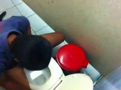 Guy caught jerking off in men's room stall