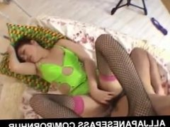Saori has feet in fishnets licked and fucked