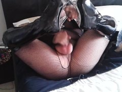 pantyhose encasement fishnet and kinky fuck boots