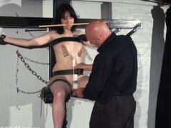 Enslaved Honesty Cabellero nipple clamped and spanked on the punishment