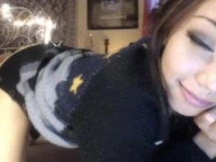 Pierced nipples and petite body on cam