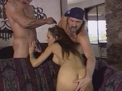Brunette sucks and fucks 2 guys on the couch