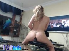 ass  Slow blonde skillfully combines anal sex with television viewing