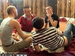 Sexy uncut hairy men play daddy to gay twinks Four Way Smoke & Fuck!