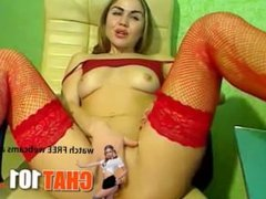 anal  Emotional cutie in red stockings enthusiastically fondles her shaved