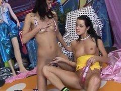 Two lesbian slaves lick Hot splendid