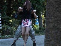 Japanese Girl Tickled on the Street 2