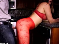 MissBratDom.com  Ass Grinding in Red Tights