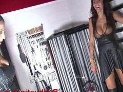 Goddess Chanel - Chanel and Milana Ballbusting chastity slave